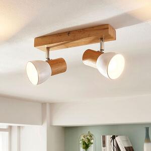 Lindby Dřevěná stropní lampa Thorin, dvoubodová