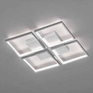 FISCHER & HONSEL LED stropní světlo Pix, hliník, 4 zdroje, 54x54cm