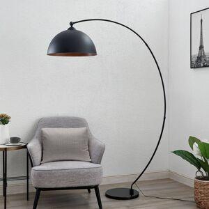 Lindby Lindby Beatris oblouková stojací lampa černá dřevo