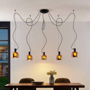 Lucande Lucande Serina závěsné světlo, 5 zdrojů, sklo, měď