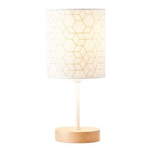 Brilliant Stolní lampa Galance, bílá s dřevěnou nohou