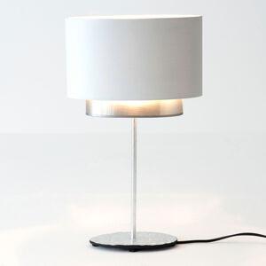 J. Holländer Stolní lampa Mattia, ovál, dvojitá, bílá/stříbrná