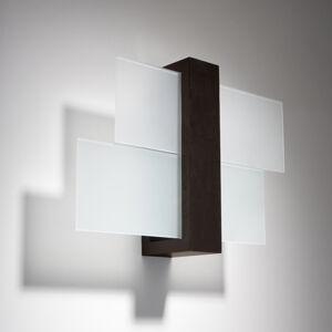 SOLLUX Nástěnné světlo Shifted 1, sklo a dřevo Wenge